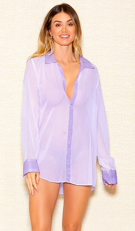 cce0a8fdb9 Women s lilac-lavender sheer chiffon button-front sleepshirt by iCollection  ...