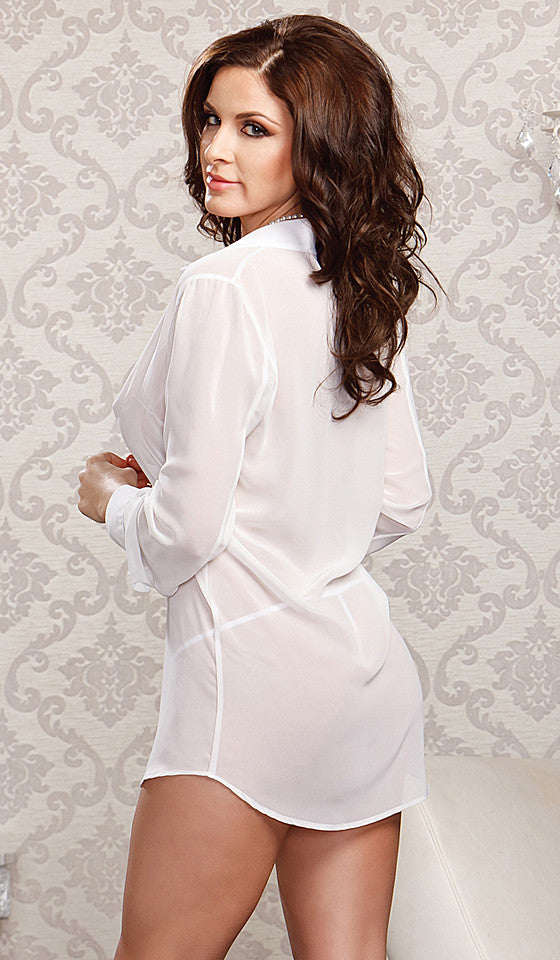 Women's white sheer chiffon button-front sleepshirt by iCollection