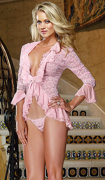 Women's Sleep Shirt - Pink Stretch Lace Sleep Jacket w/Ruffle Flounce Detail by Dreamgirl