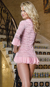 Women's Sleep Shirt - Pink Stretch Lace Sleep Jacket w/Ruffle Flounce Detail by Dreamgirl - view 2