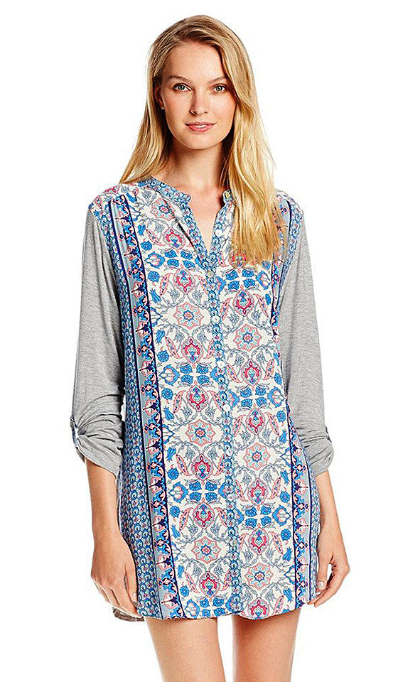 Women's Sleep Shirt - Color Blocked Blue & Gray Paisley Knit by In-Bloom by Jonquil