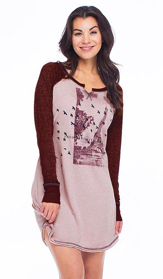 Women's Sleep Shirt - Paris Collage Burgundy Oversized Vintage with Raglan Sleeves by Retrospective