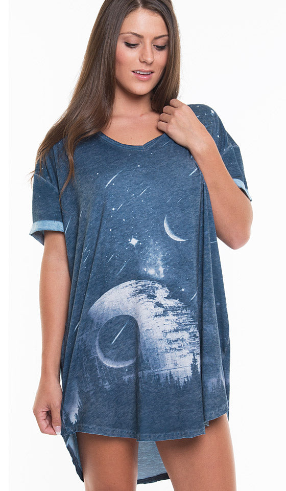 Women's oversized T-shirt/sleep shirt with Death Star burnout in navy and white by Retrospective
