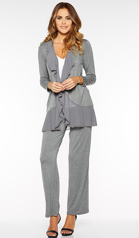 Women' Pajamas - Gray Stretch Lounge Set w/Ruffled Chiffon Trimmed Jacket by Rhonda Shear