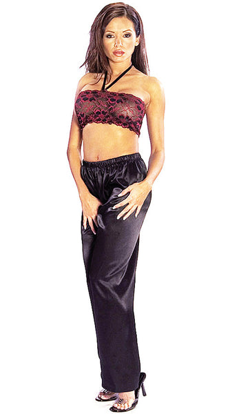 Women's Camisole/Pants Set - Black and Burgundy Floral Mesh Halter & Satin Pants by Escante