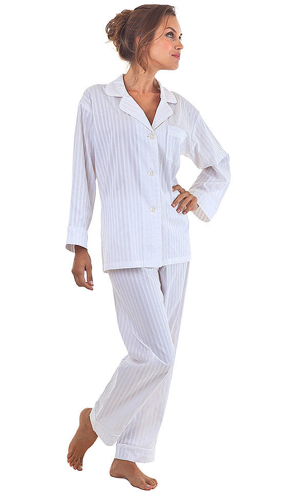 Women's White Stripe Cotton Sateen Pajamas by Bedhead