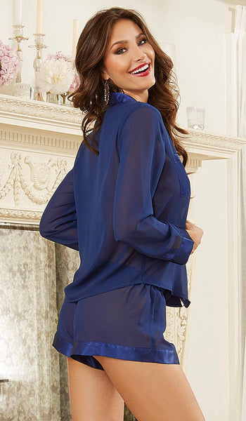 Pajamas - Sheer Chiffon Midnight Blue Shorts Set<br> (Small-Large)