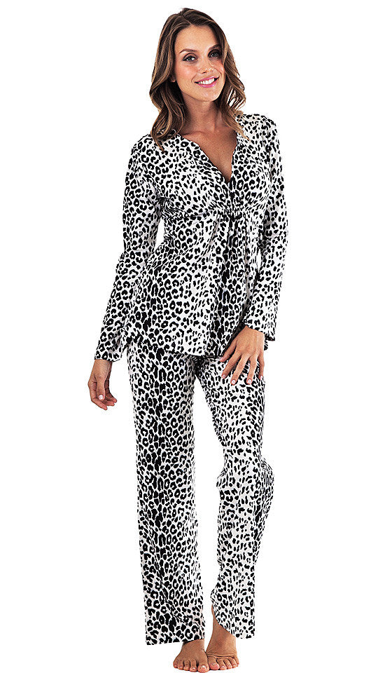 Women's Pajamas - Gathered Stretch Cotton Snow-Leopard