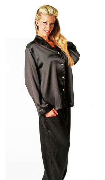 Women's Pajamas - Black Satin Charmeuse w/Pleated Trim by Mystique Intimates