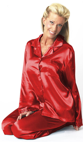 Women's Pajamas - Red Satin Charmeuse w/Pleated Trim by Mystique Intimates