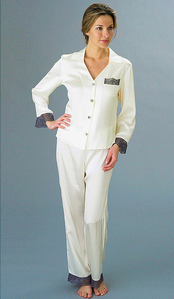 Women's Pajamas - Silk Ivory w/Zinc Lace Trim by Julianna Rae