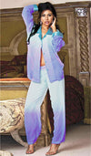 Women's Pajamas - Blue Cascading Sheer Chiffon w/Contrasting Satin Trim by Shirley of Hollywood