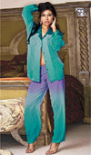 Women's Pajamas - Green Cascading Sheer Chiffon w/Contrasting Satin Trim by Shirley of Hollywood
