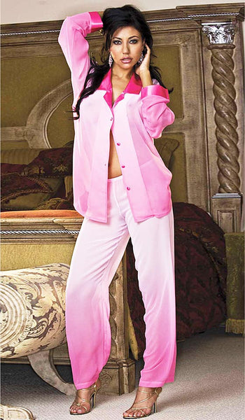 Women's Pajamas - Pink Cascading Sheer Chiffon w/Contrasting Satin Trim by Shirley of Hollywood