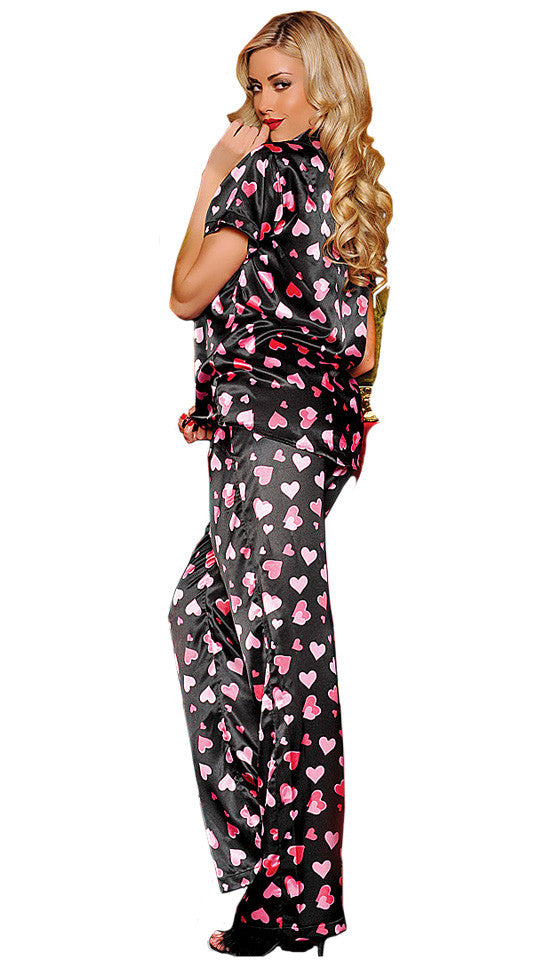Women's Pajamas - Satin Charmeuse Short-Sleeve Heart Print on Black