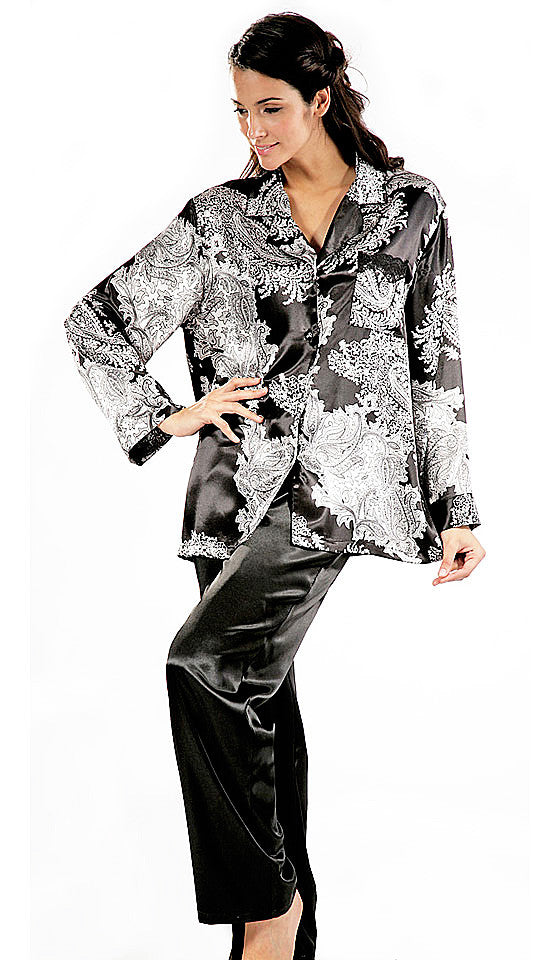 "Women's Pajamas - ""Reanna"" Black & White Print Satin Charmeuse by Mystique Intimates"