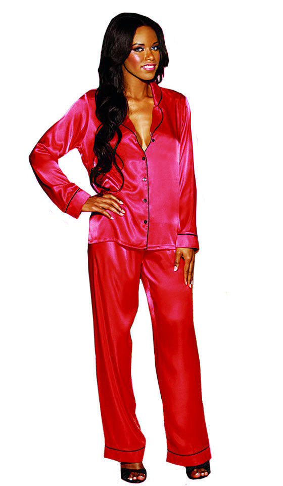 Women's Pajamas - Pink Classic Satin Charmeuse w/Contrasting Piping by Shirley of Hollywood
