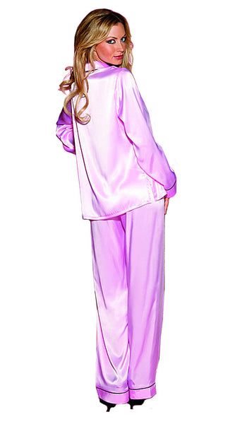 Women's Pajamas - Pink Classic Satin Charmeuse w/Contrasting Piping by Shirley of Hollywood - back view