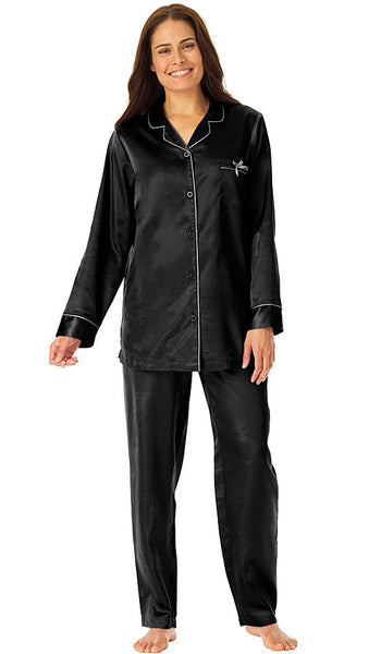 Women's Pajamas - Black Classic Style Satin Charmeuse w/Piping