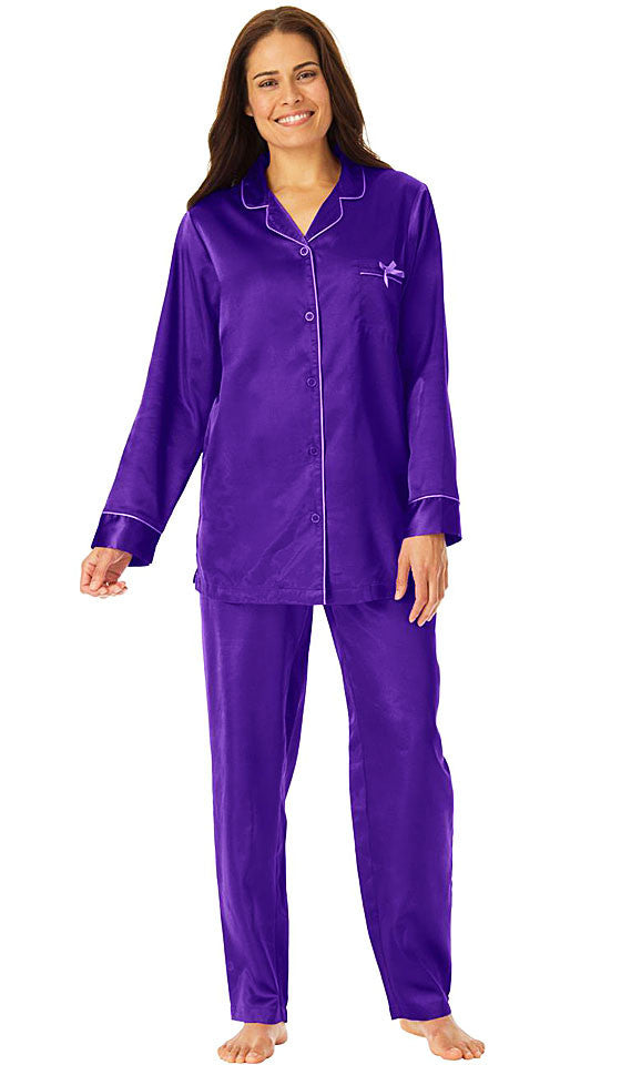 Women's Pajamas - Grape Classic Style Satin Charmeuse w/Piping