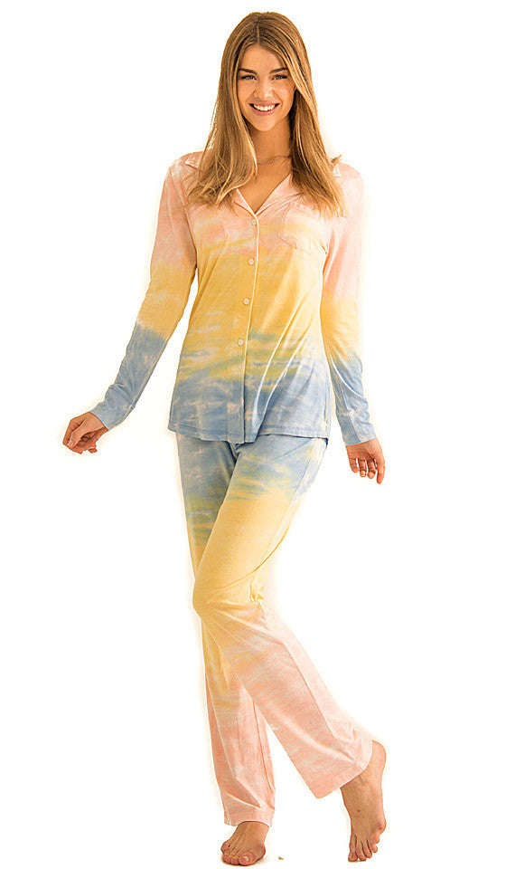 Women's Pajamas - Cassie Horizon Multi Tie-Dye by Love+Grace
