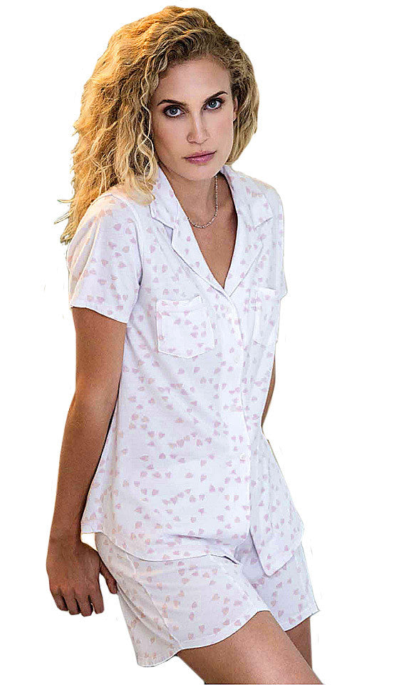 Women's Pajamas - Pink Hearts Luvey Dovey Donna Short Set by Love+Grace