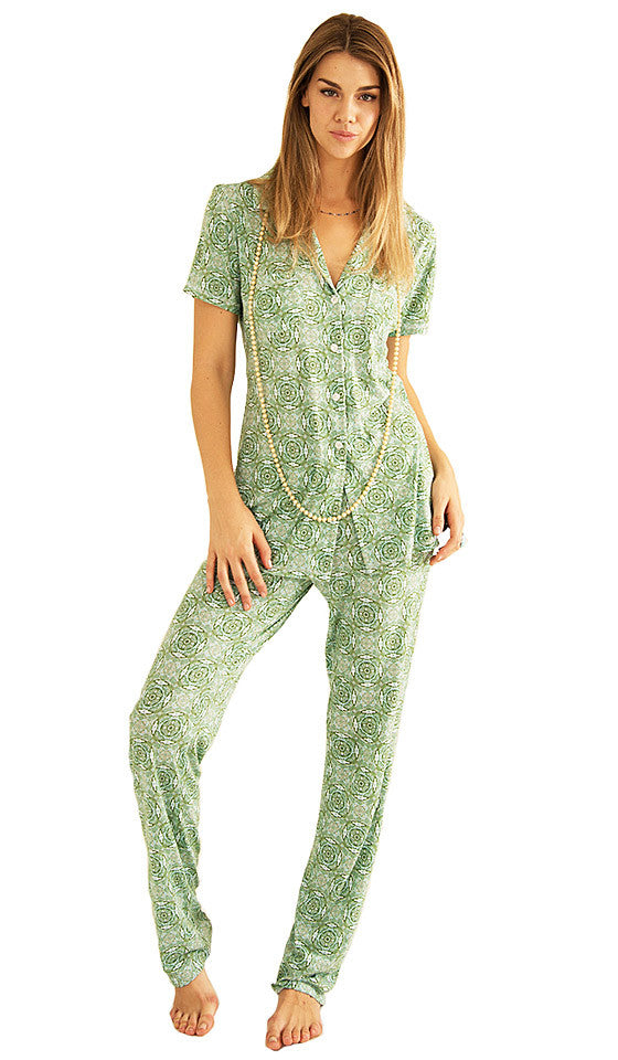 1f65a4cace61 ... Women s Pajamas - Green Print Christine Monaco Short-Sleeve by  Love+Grace ...