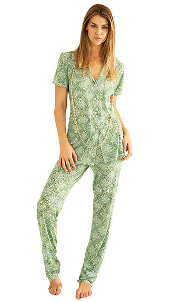 Women's Pajamas - Green Print Christine Monaco Short-Sleeve by Love+Grace