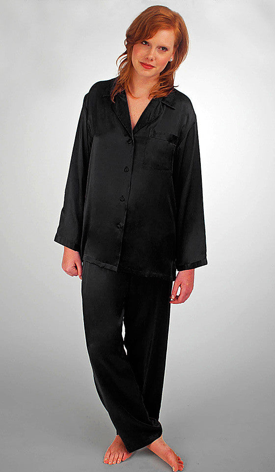 Women s Black Silk Charmeuse Classic-Style Pajamas by Linda Hartman ... 13cc291d2