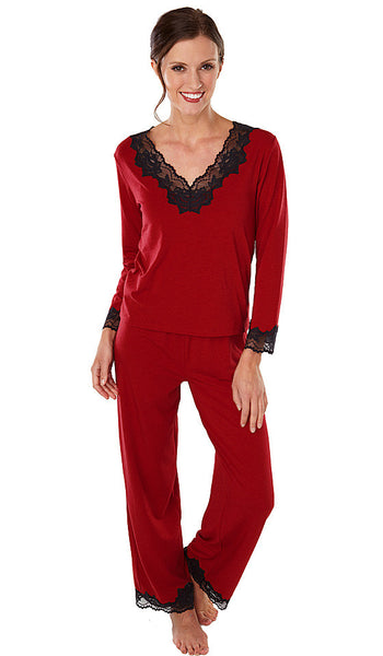 "Women's Pajamas - ""Softies"" Nicole Red Pull-Over w/Lace Trim by Paddie Murphy"