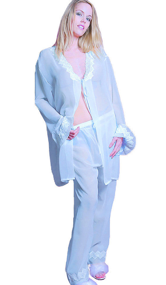 Women's Pajamas - Sheer Blue Chiffon Robe & Pants w/ Lace Trim