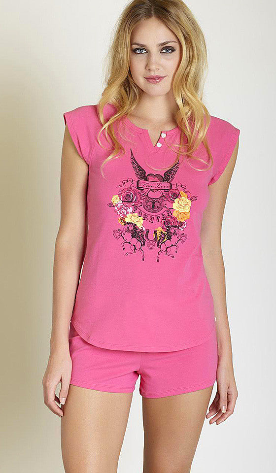 Women's Pajamas - Short Strawberry Pink Flip Cotton by Betsey Johnson
