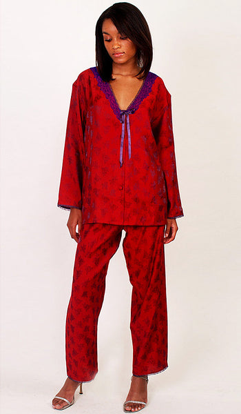Women's Pajamas - Iridescent Rayon Jacquard Red Print w/Lace Trim
