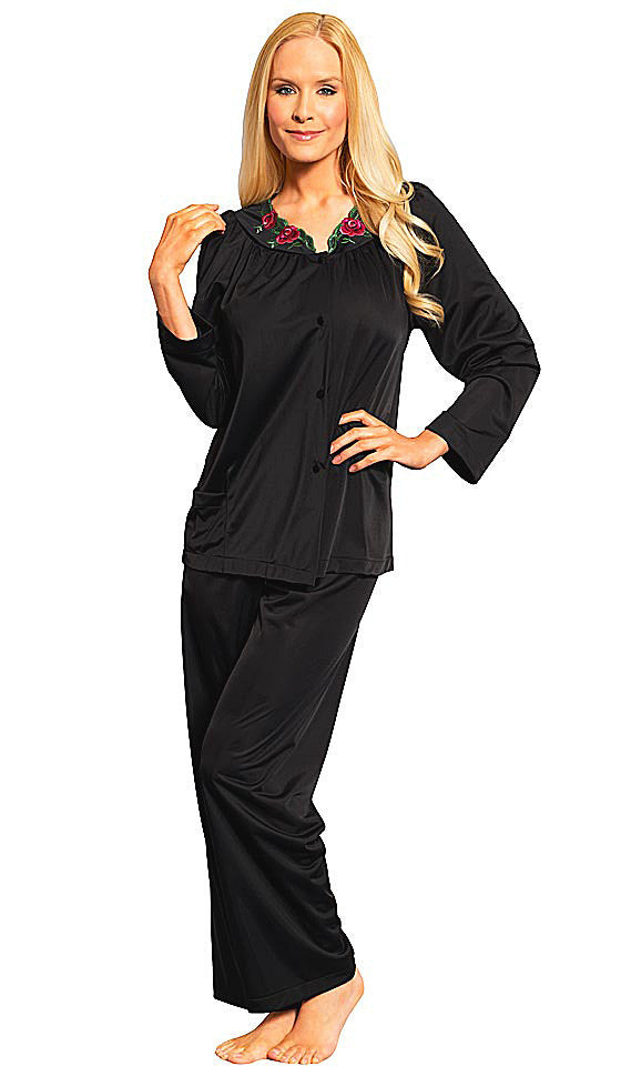 Women's Pajamas - Black Petals Poly Charmeuse w/Embroidered Collar by Shadowline