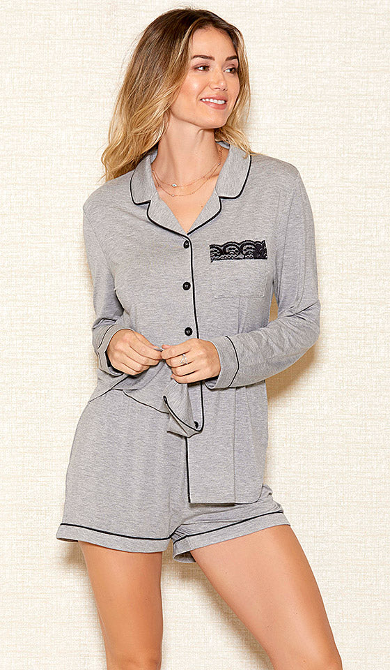 Women's Heather Gray Stretch Knit Short Pajama Set (Small-3X) by iCollection