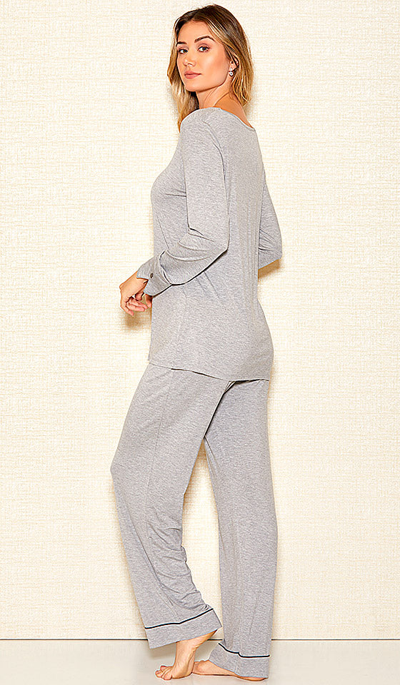 Women's Heather Gray Stretch Knit Pullover Pajama Set (Small-3X) by iCollection