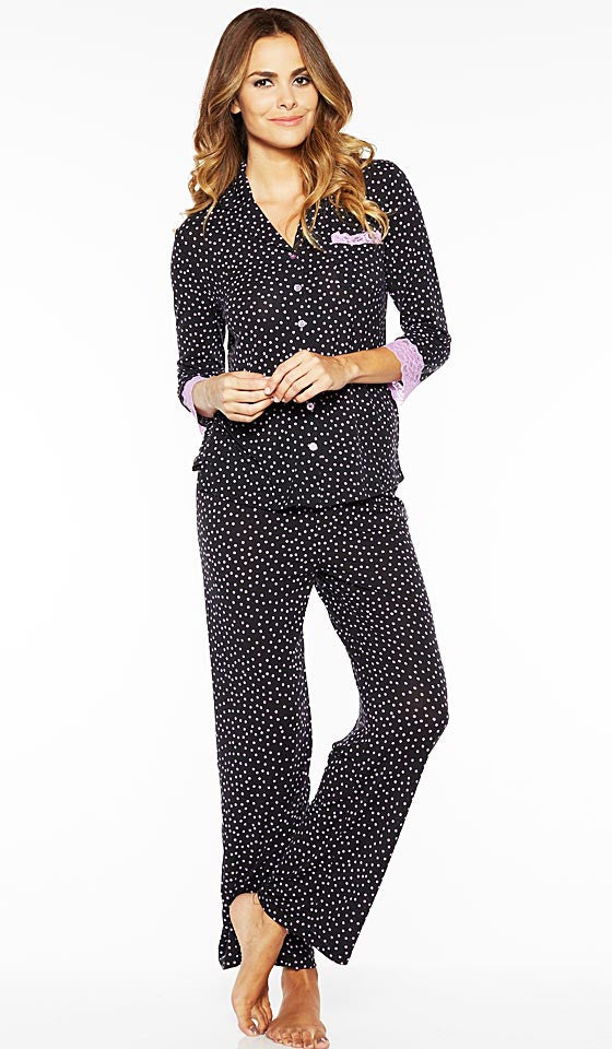 Women's Pajamas - Stretch Lace-Trimmed Black/Pink Dot by Rhonda Shear