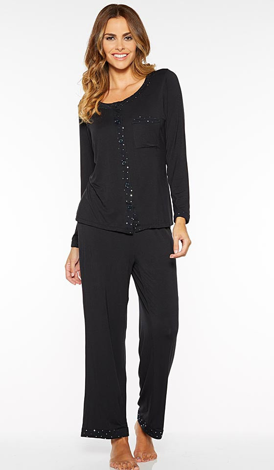 Women' Pajamas - Black Stretch Knit w/Shimmer Trim by Rhonda Shear