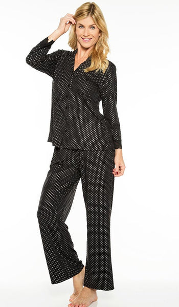 Women's Pajamas - Elegant Black Printed Pin-Dot by Rhonda Shear