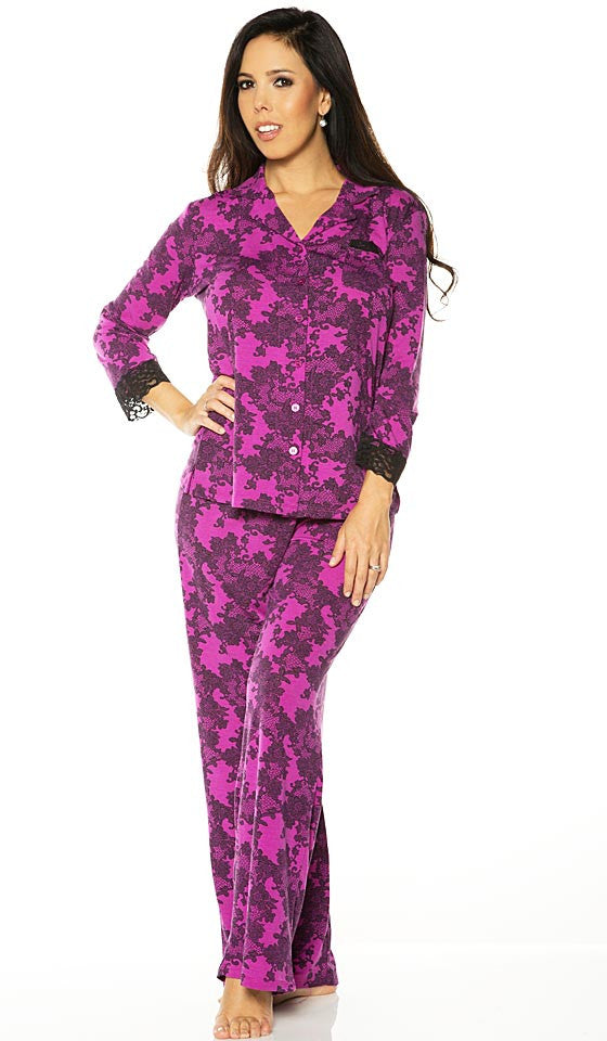 Women's Pajamas - Stretch Magenta Black Lace Print by Rhonda Shear