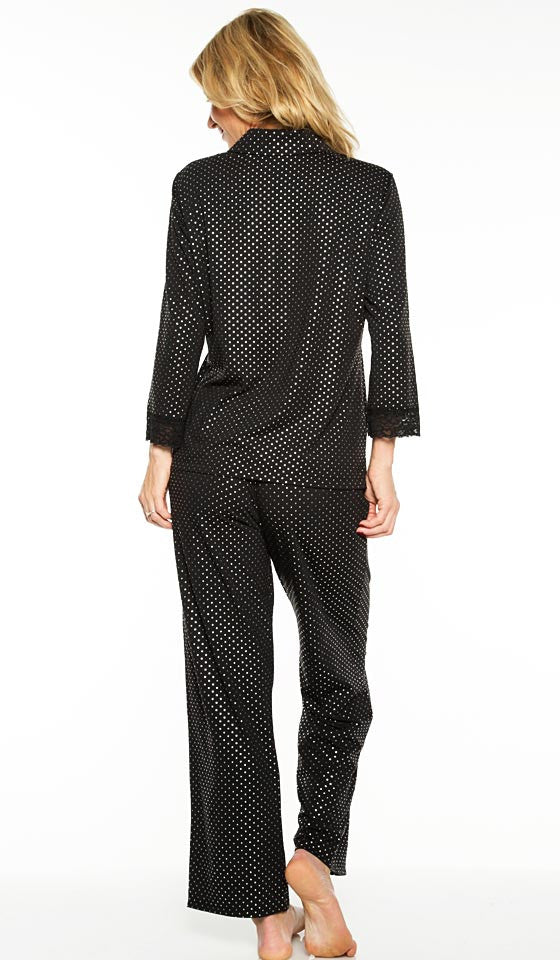 Women's Pajamas - Elegant Stretch Black Pin-Dot by Rhonda Shear