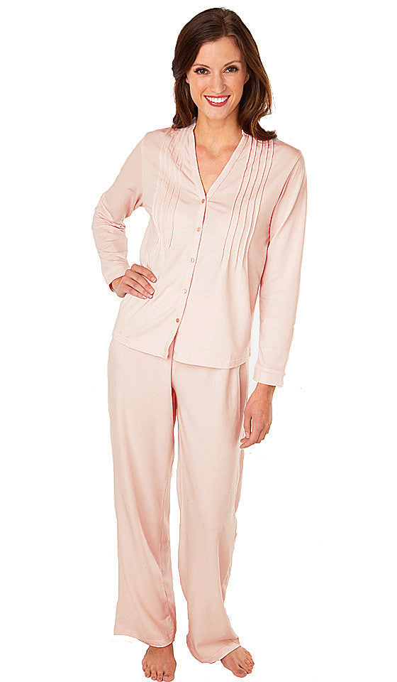 "Women's Pajamas - Peach ""Softies"" Lauren Pin-Tucked by Paddie Murphy"