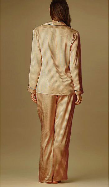 Women's Gold Stripe Poly Charmeuse Pajamas by Jonquil - back view