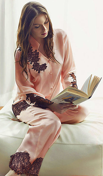 Women's Pajamas - Pink Silk Charmeuse w/Black Lace Appliqués