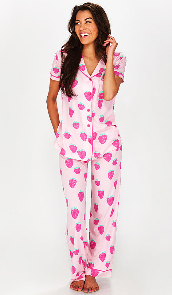 Women's Pajamas - Short-Sleeve Strawberry Bop Jersey w/Roll Tab Pants