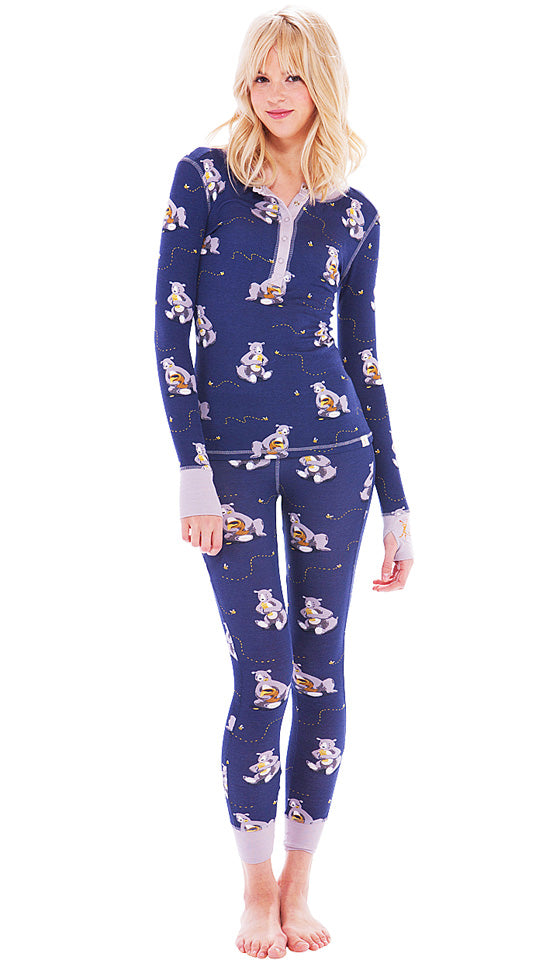 "Women's ""Honey-Bears"" Long-Sleeve Henley Long Johns in Navy Print"