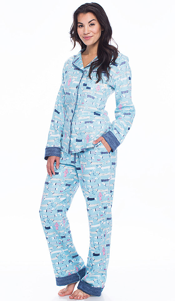 "Women's Pajamas - Cotton Flannel ""Sweater Dogs"" Blue Print by Munki Munki - view 2"
