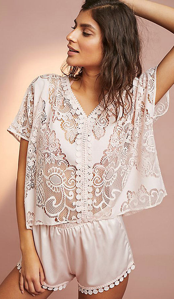 Millie Women's Short Lace & Charmeuse Pajama Set/Sleep Set in Buff Pink by Flora Nikrooz