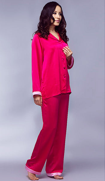 Women's Pajamas - Rose Silk Charmeuse Two-Tone Classic Style by Nara Silk - view 2