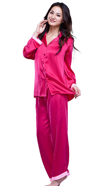 Women's Pajamas - Rose Silk Charmeuse Two-Tone Classic Style by Nara Silk
